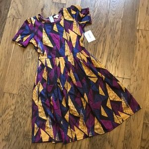 LuLaRoe Purple and Gold Triangles L